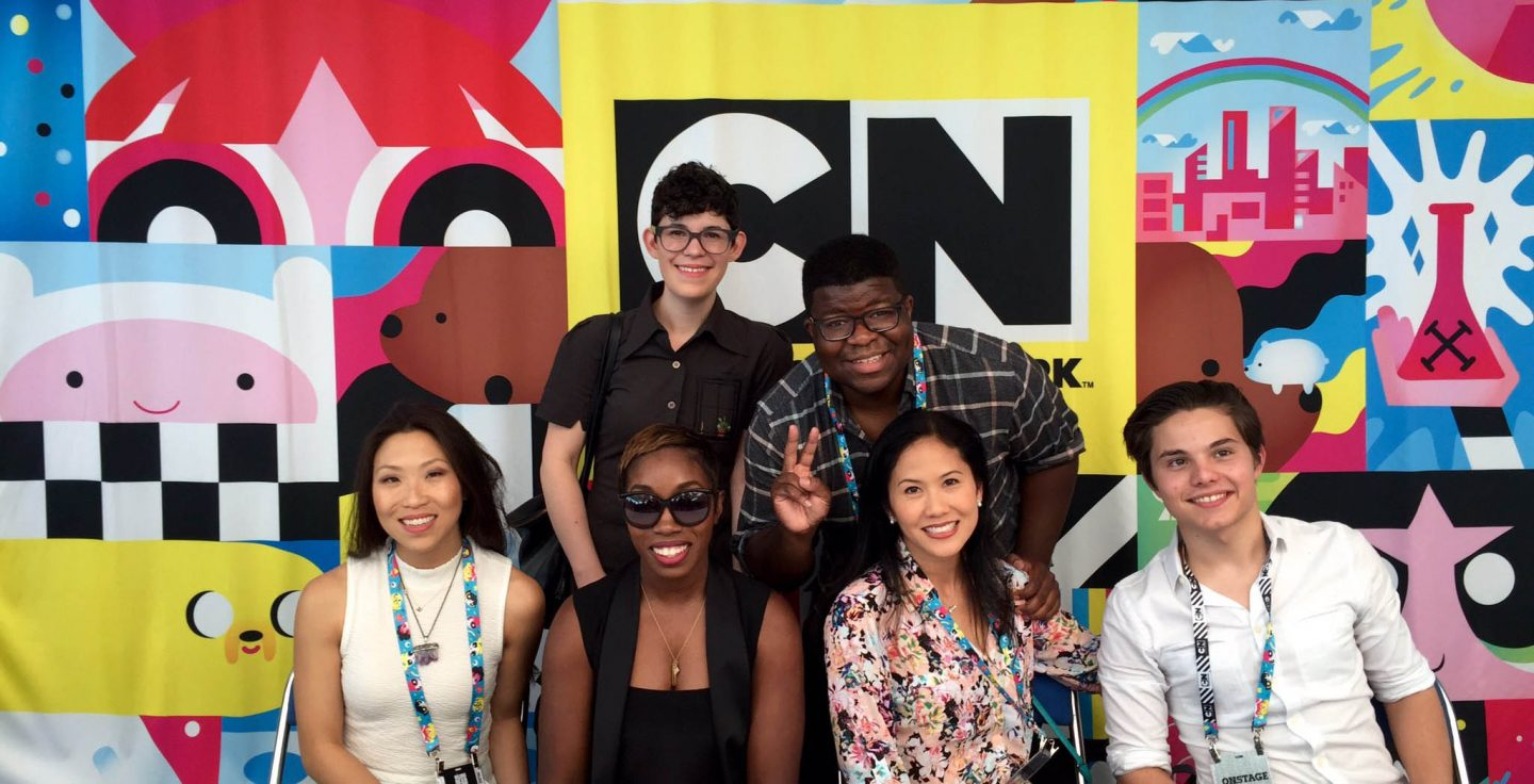 Rebecca Sugar (top left) at Comic-Con yesterday with other Cartoon Network employees.