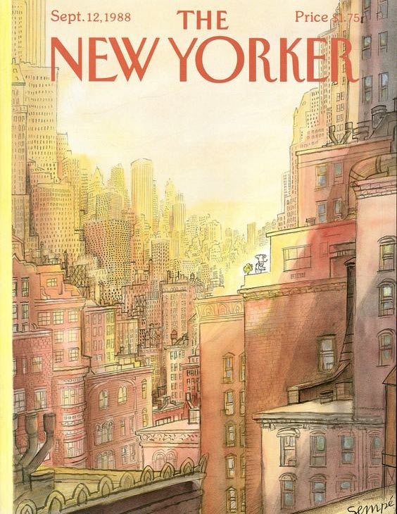 """A """"New Yorker"""" cover by Jean-Jacques Sempé, 1988."""