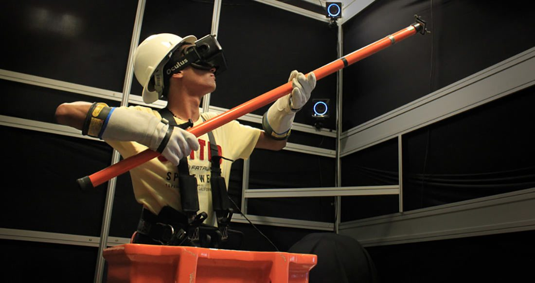 One of the VR Village installations: an immersive and interactive procedure-training simulator for high-risk power-line maintenance.