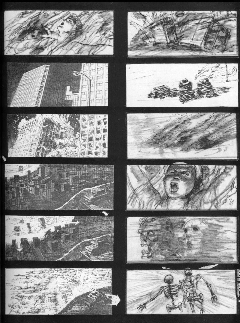 A storyboard from the nuclear nightmare sequence.