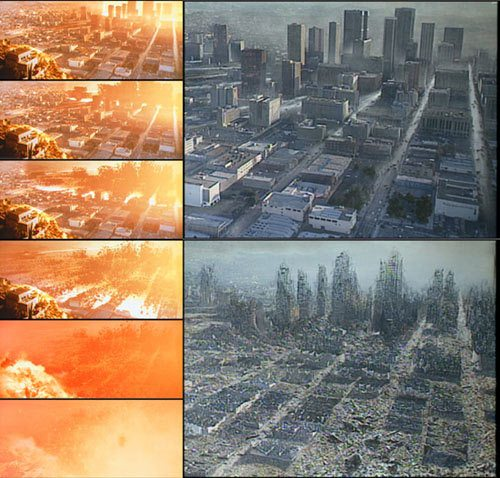A progression of images showcasing the blast wave sequence and the matte painting work.