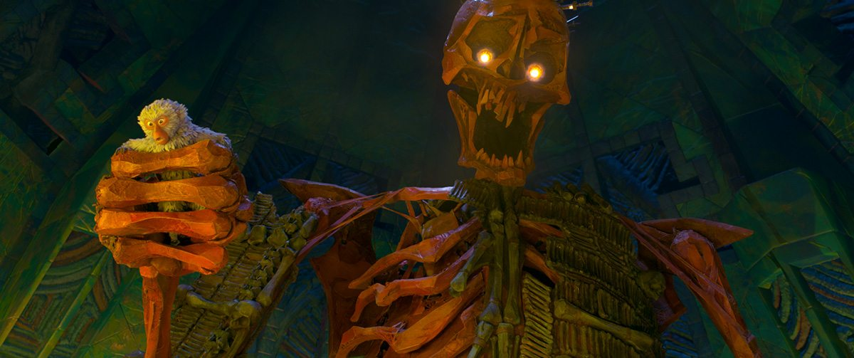 Monkey, voiced by Charlize Theron, gets trapped in the Hall of Bones and caught in the grip of the Giant Skeleton.