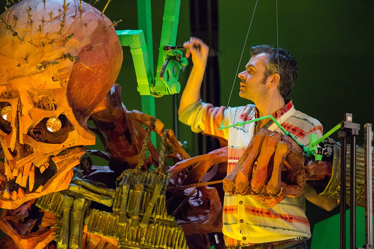 Laika rigging supervisor Oliver Jones working on the Giant Skeleton on the Hall of Bones set.
