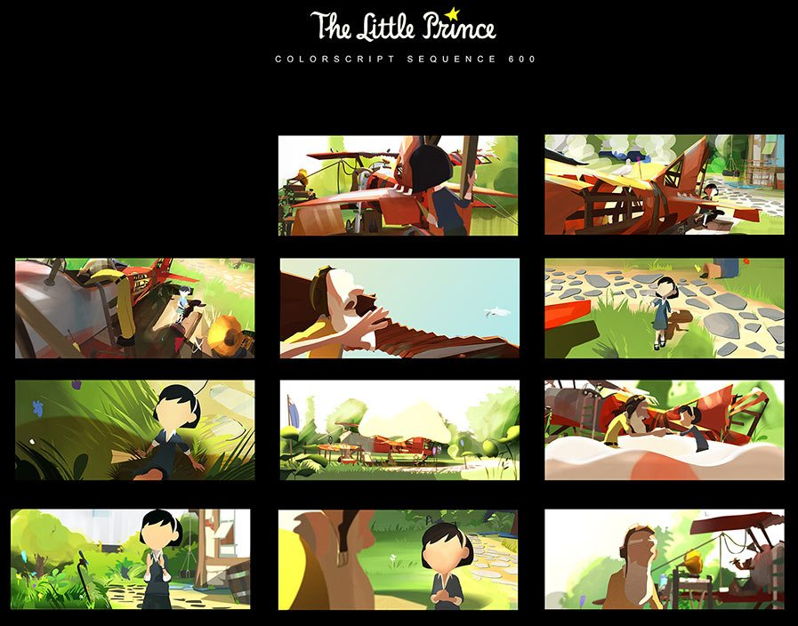 "Part of the colorscript for ""The Little Prince"" painted by Celine Desrumaux."