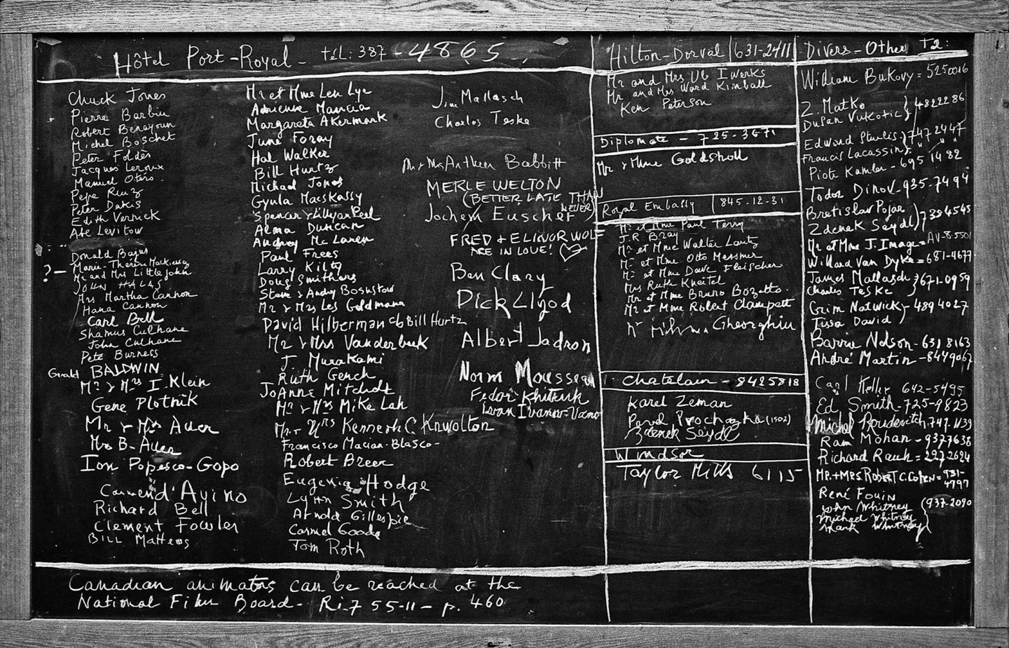 A photo of the chalkboard that shows the guests' names and hotels at which they were staying. (Photo: Bruno Massenet/The Bruno Massenet fonds of The Cinémathèque québécoise)