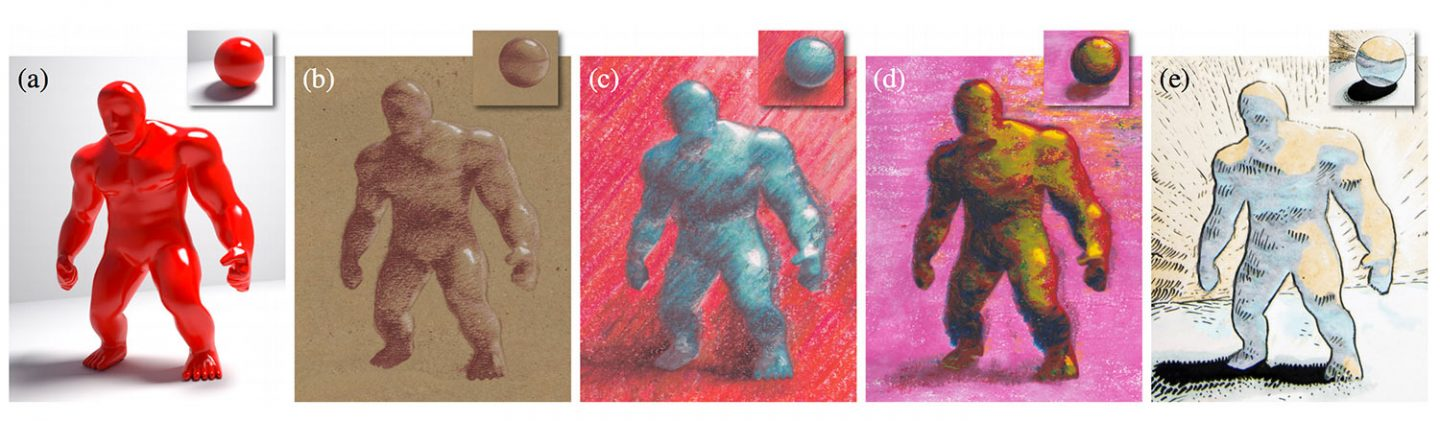 The original 3D rendering (a) and examples of how it was stylized: (b) tonal drawing, (c) colored pencils, (d) oil pastel, and (e) comic drawing. Note how the lighting effects on the sphere are transferred to a similarly illuminated location in the target 3D rendering. Rendering by Daichi Ito (b), Pavla Sýkorová (c, d), and  Lukáš Vlček (e).