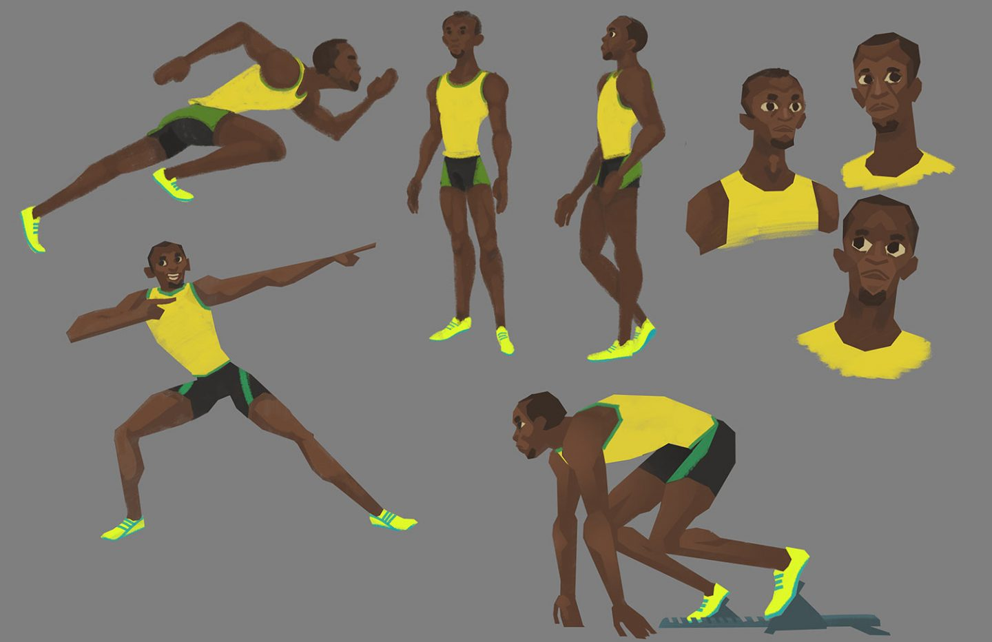 Usain Bolt character exploration by Kendra Phillips.