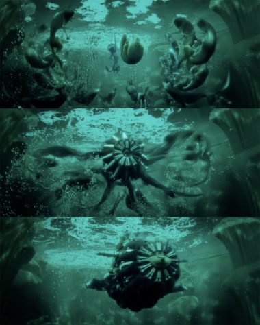 These captures from the Storks trailer show the wolf pack forming a submarine.