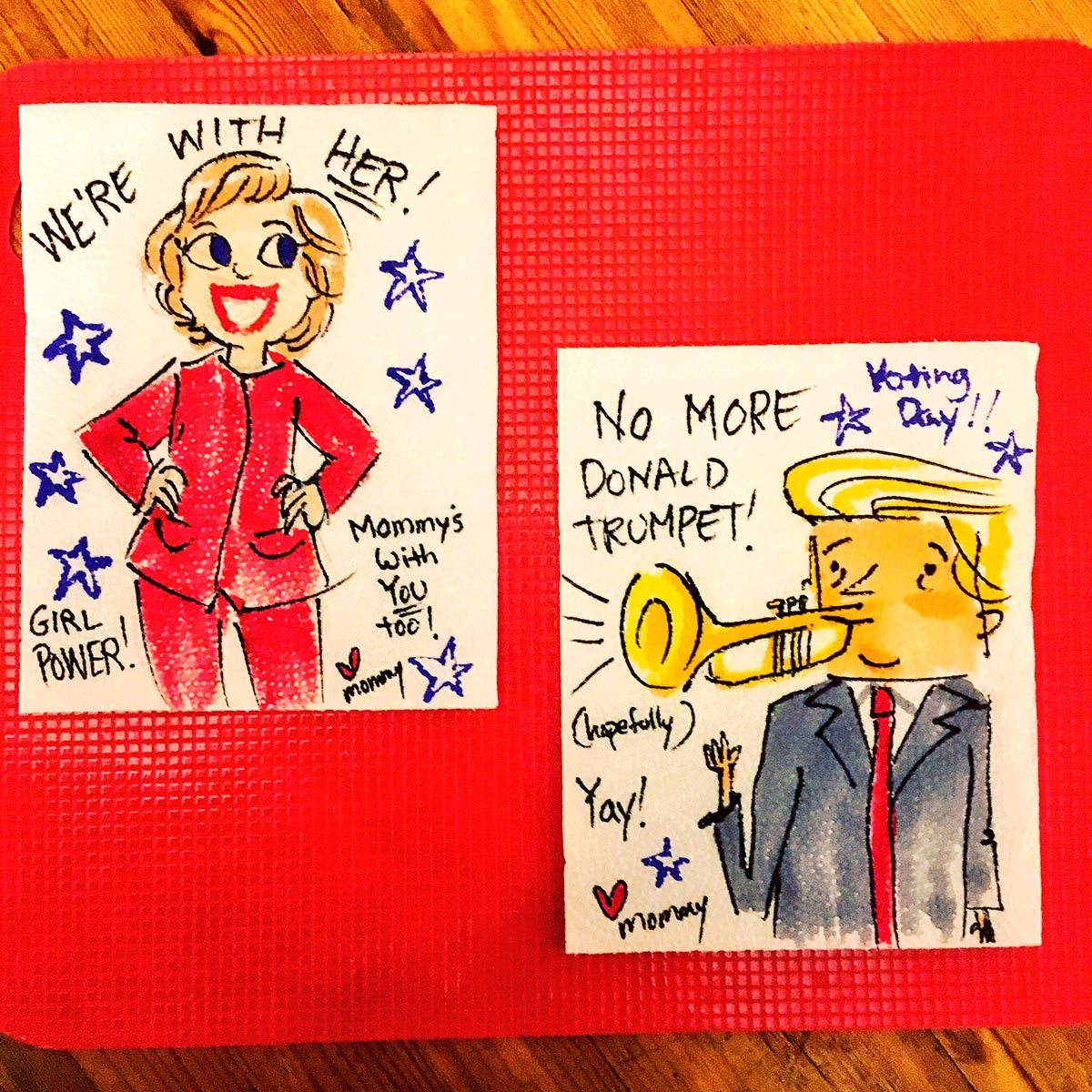 Hillary Clinton and Donald Trump by Aliki Theofilopoulos.