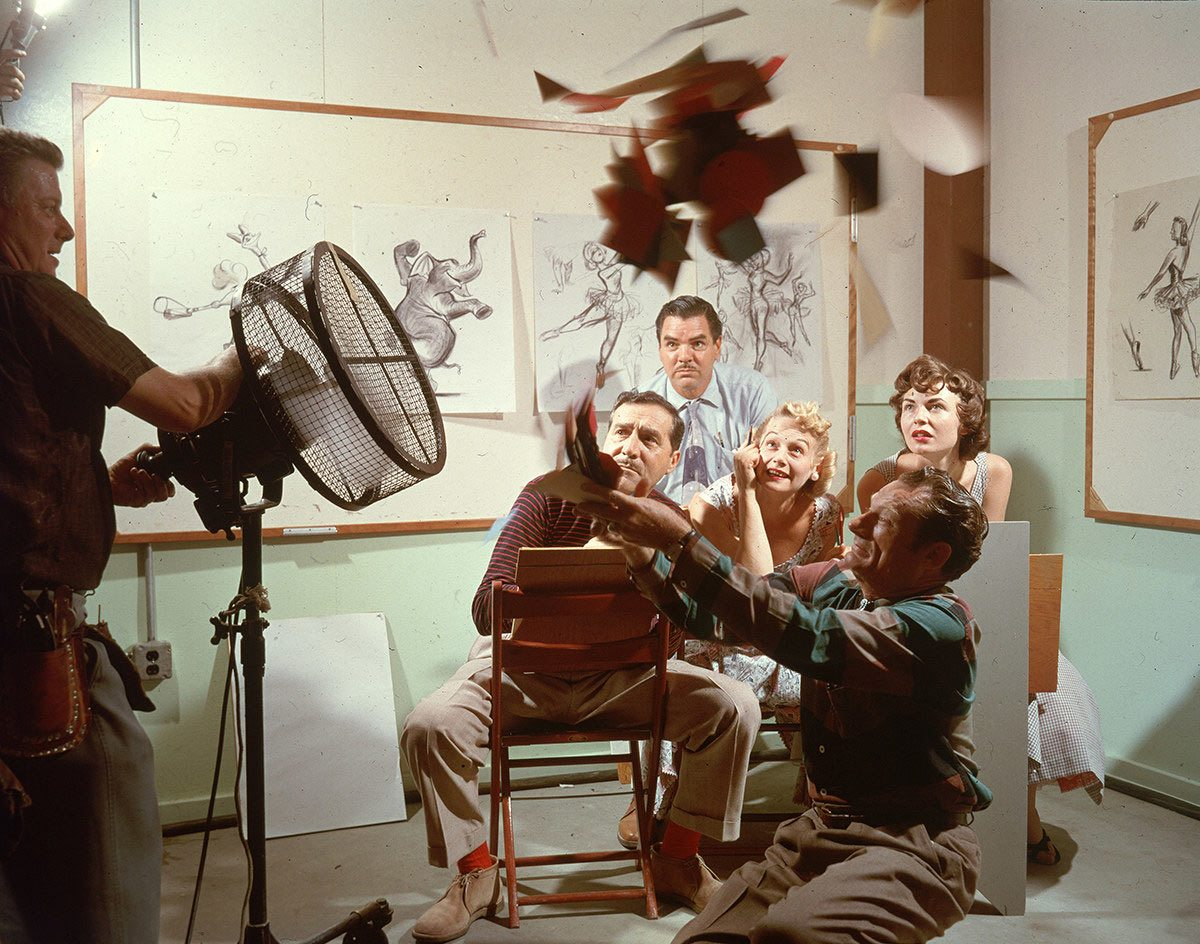 Disney artists studying effects. Josh Meador kneeling in foreground, animator Jack Boyd in back.