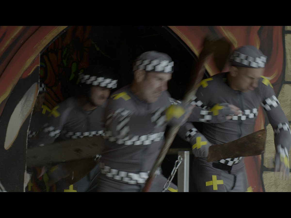 Stunt performers wore gray tracking markered suits as stand-ins for the skeletons.