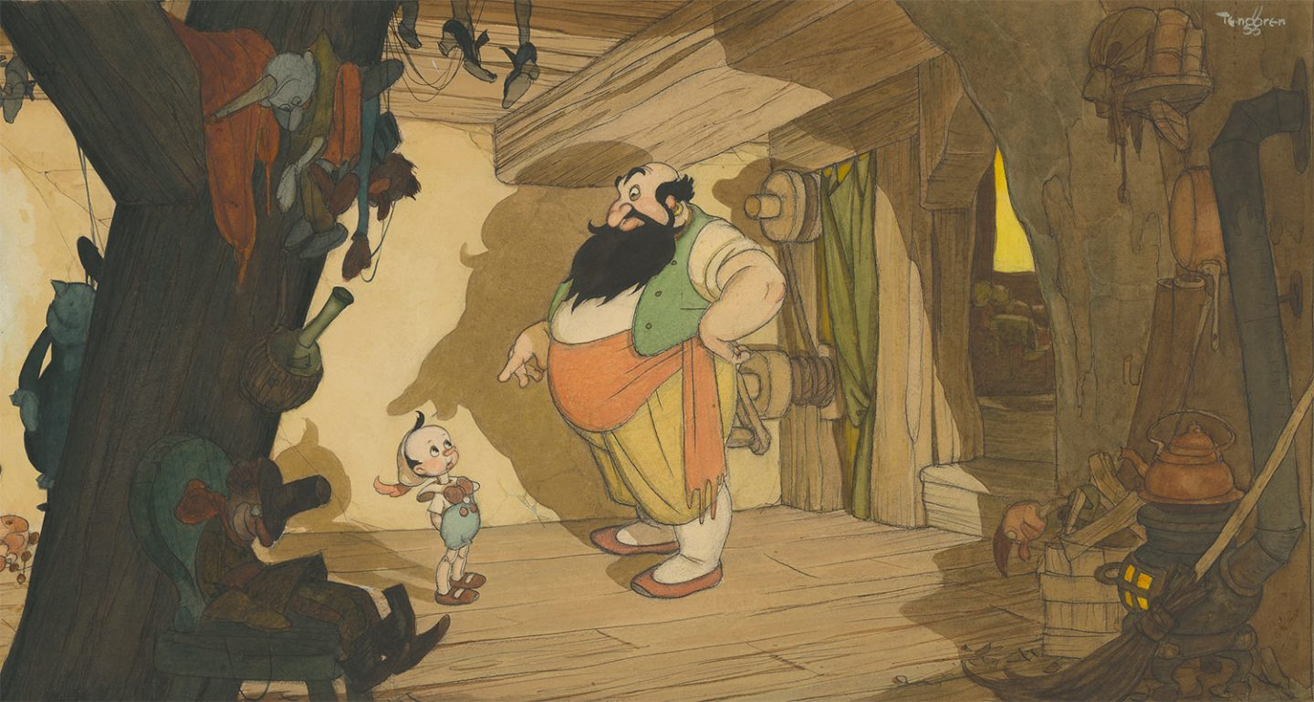 """Pinocchio"" concept art by Gustaf Tenggren (collection of the Walt Disney Animation Research Library, ©Disney)"
