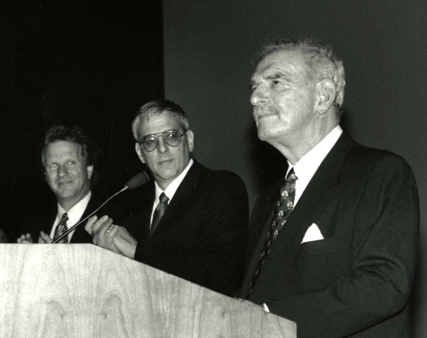 Left to right:Bruce Wands, Chair of SVA MFA Computer Art, David Rhodes, President of SVA, Silas H. Rhodes, Founder and Chairman of the Board of SVA,  circa 1990.