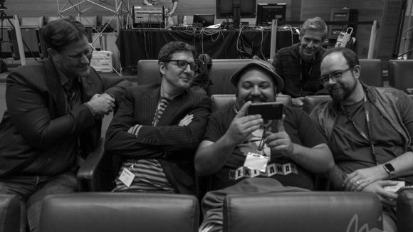 "Left to right: ILM animation supervisor Glen McIntosh, directors Mark Osborne, Jorge Gutierrez, and ""Kubo and the Two Strings"" creator Shannon Tindle. Background: ""Hotel Transylvania 2"" production designer Michael Kurinsky. Photo ©Michael Rubin."