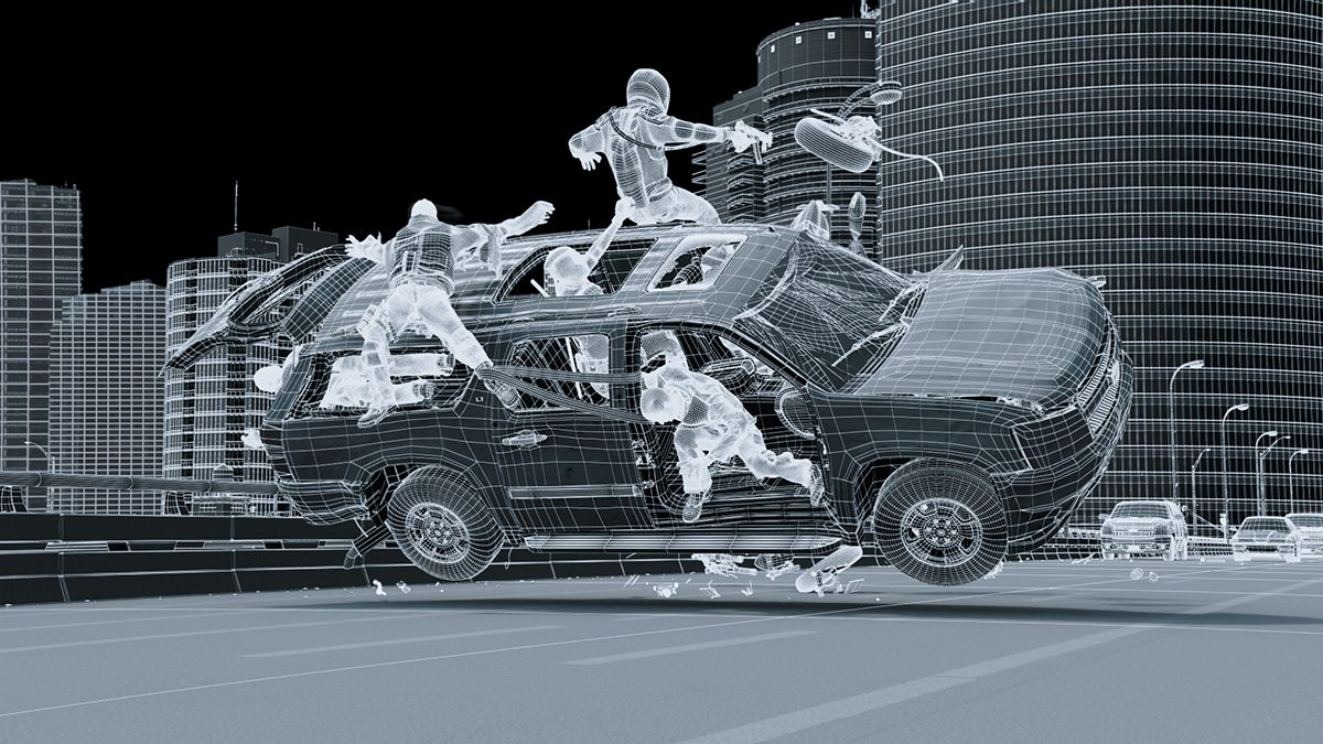 "A wireframe still from the freeway chase in ""Deadpool."""
