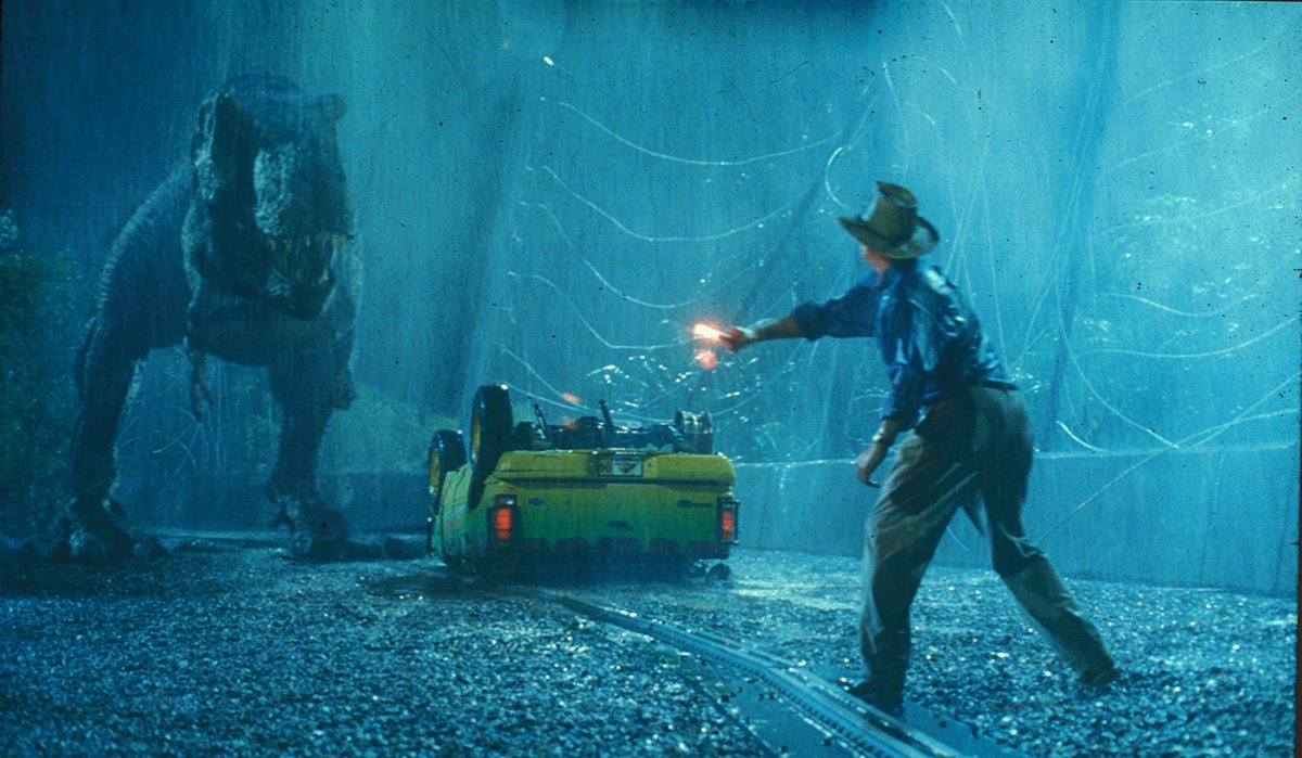 A final shot from Jurassic Park featuring ILM's digital T-Rex.