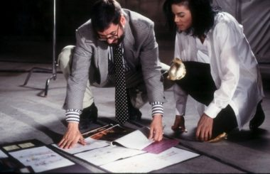 John Landis with Michael Jackson during shooting.