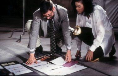 John Landis with Michael Jackson during shooting.