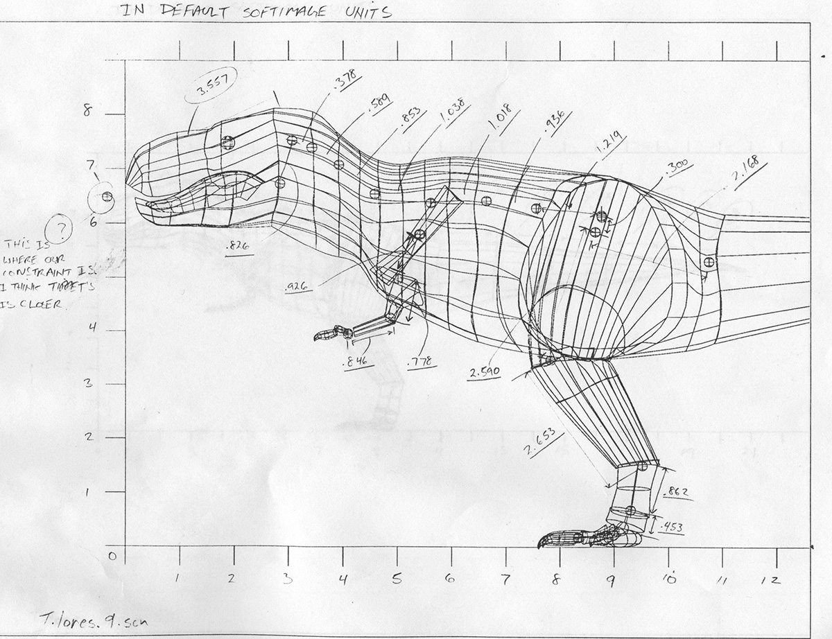 Williams created this 'chained' T-rex sketch to help work out how the joints in Softimage would work on the T-Rex model in Jurassic Park. The drawing came from a scanned 5-foot Stan Winston Studio model of the creature.