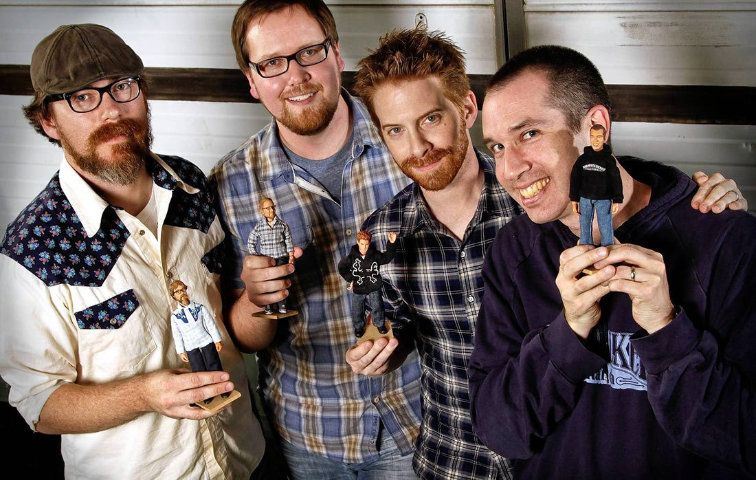 Stoopid Buddy Stoodios co-owners, John Harvatine IV, left, Eric Towner, Seth Green and Matt Senreich. (Photo: Ricardo DeAratanha/Los Angeles Times)