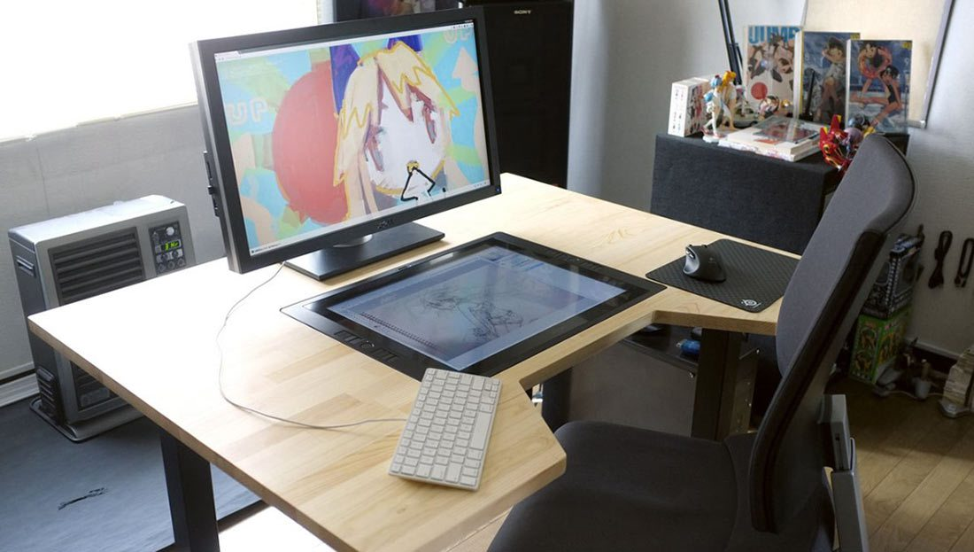 Japanese Artist Builds Custom Cintiq Embedded Desk
