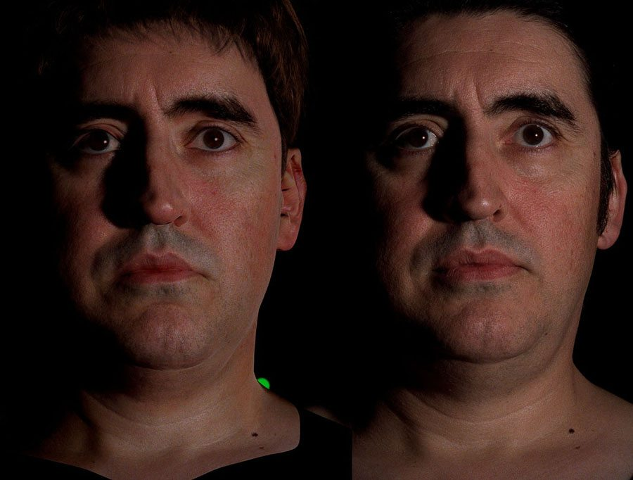 Real and synthetic versions of Alfred Molina by Imageworks. Image courtesy Paul Debevec.