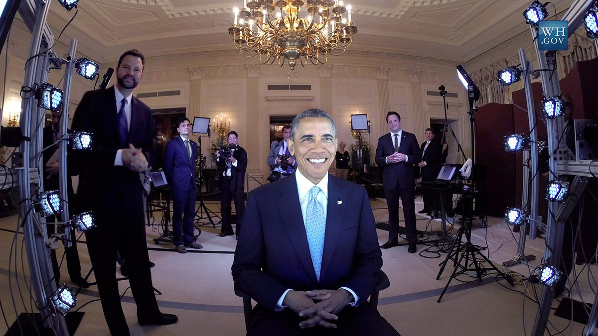 Paul Debevec (left) observes President Obama being scanned by a Light Stage at the White House for a Smithsonian 3D-portrait project. Image courtesy Paul Debevec.