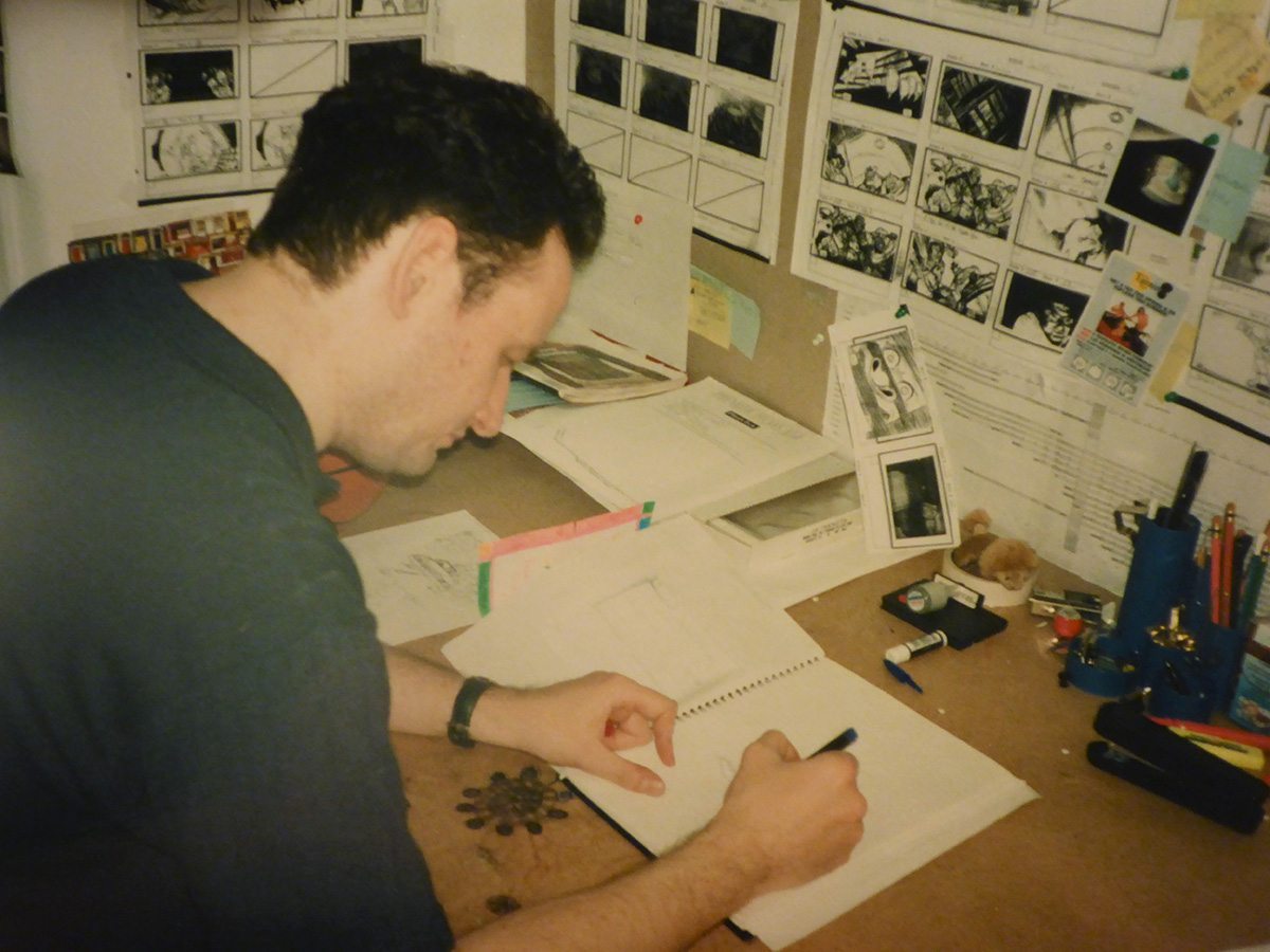 Neil Boyle at work on storyboards. Image courtesy Neil Boyle.