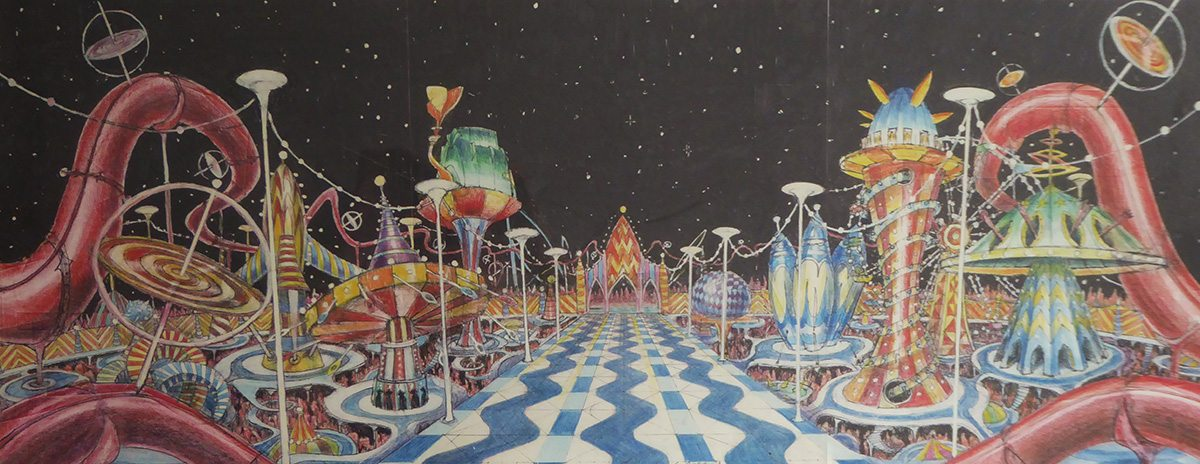 Early concept drawing by Roy Naisbitt for Moron Mountain. Image courtesy Neil Boyle.