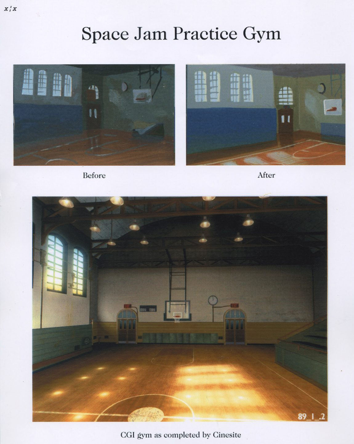 Practice basketball court designs and Cinesite render. Image courtesy Bill Perkins.