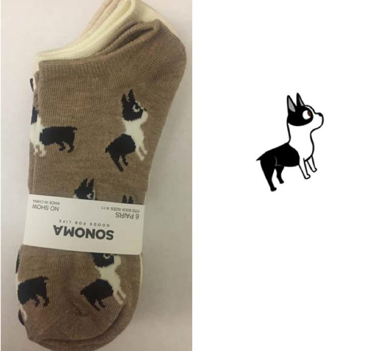 Socks by Kohl's Sonoma label (left) and Chin's original artwork (right).