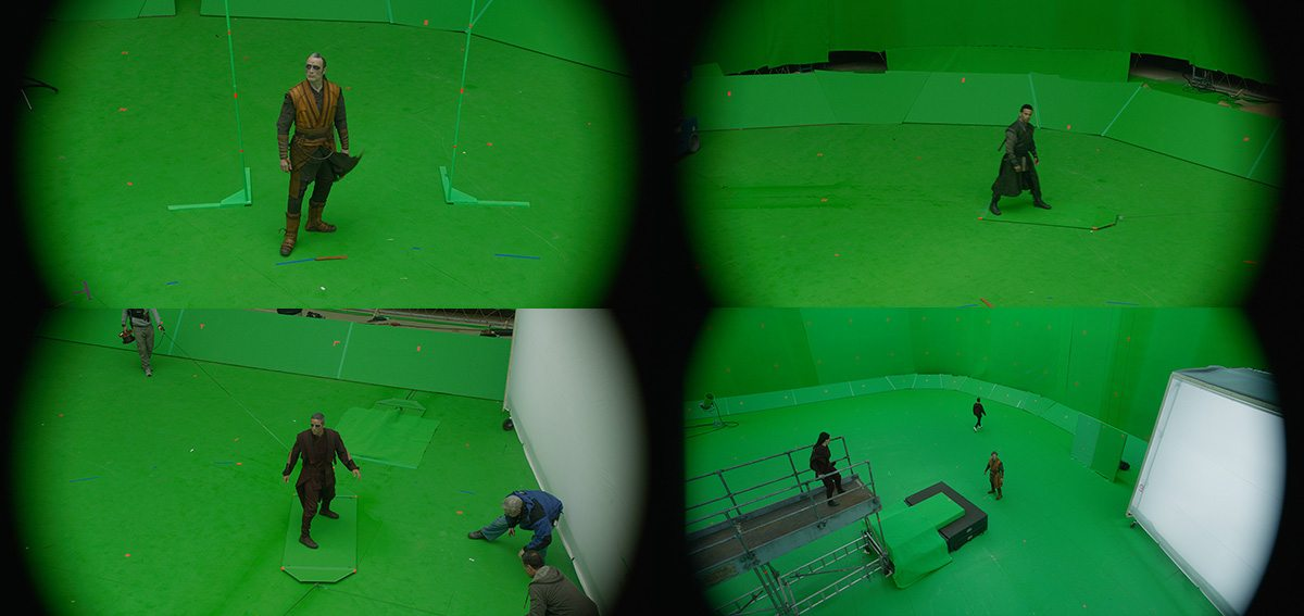 Various greenscreen elements. Image © 2016 Marvel. Courtesy ILM.