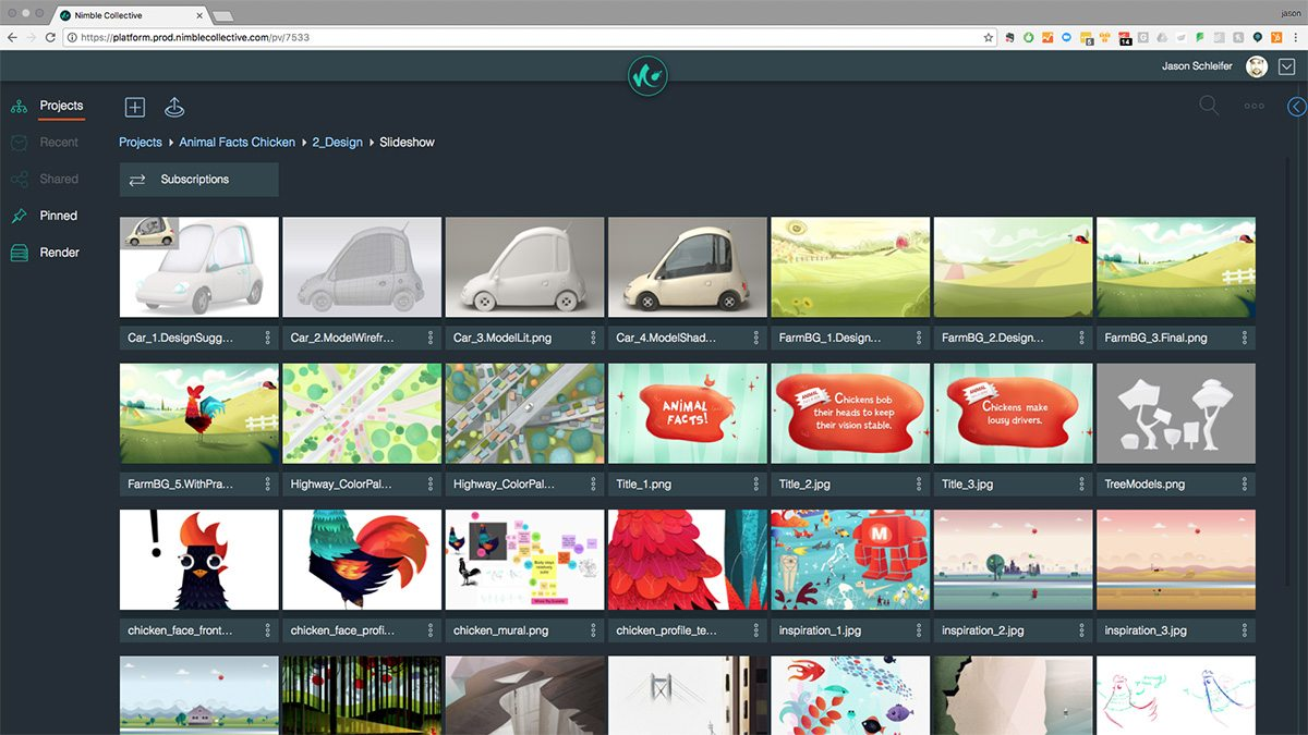 Screenshot of the Nimble Collective platform.