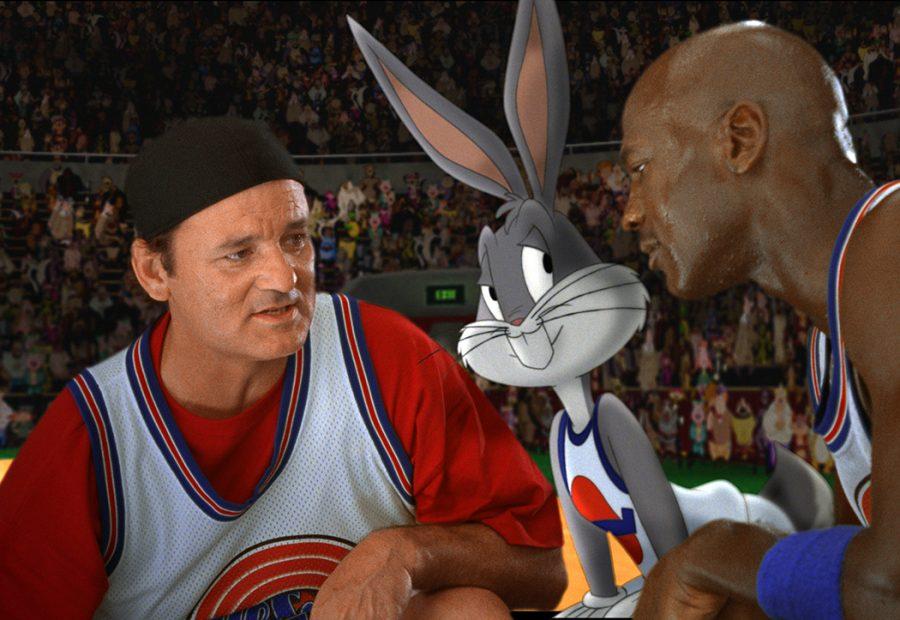 A final shot from Space Jam featuring Bill Murray, Bugs and Michael Jordan.