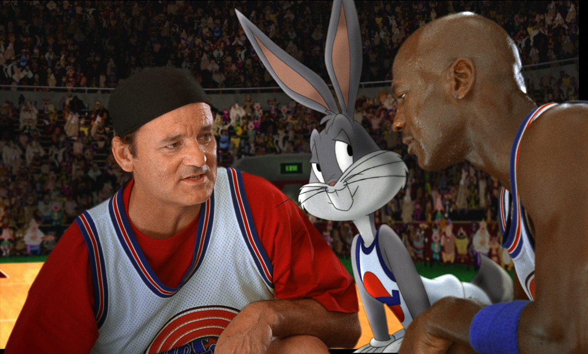 A final shot from Space Jam featuring Bill Murray, Bugs and Michael Jordan.