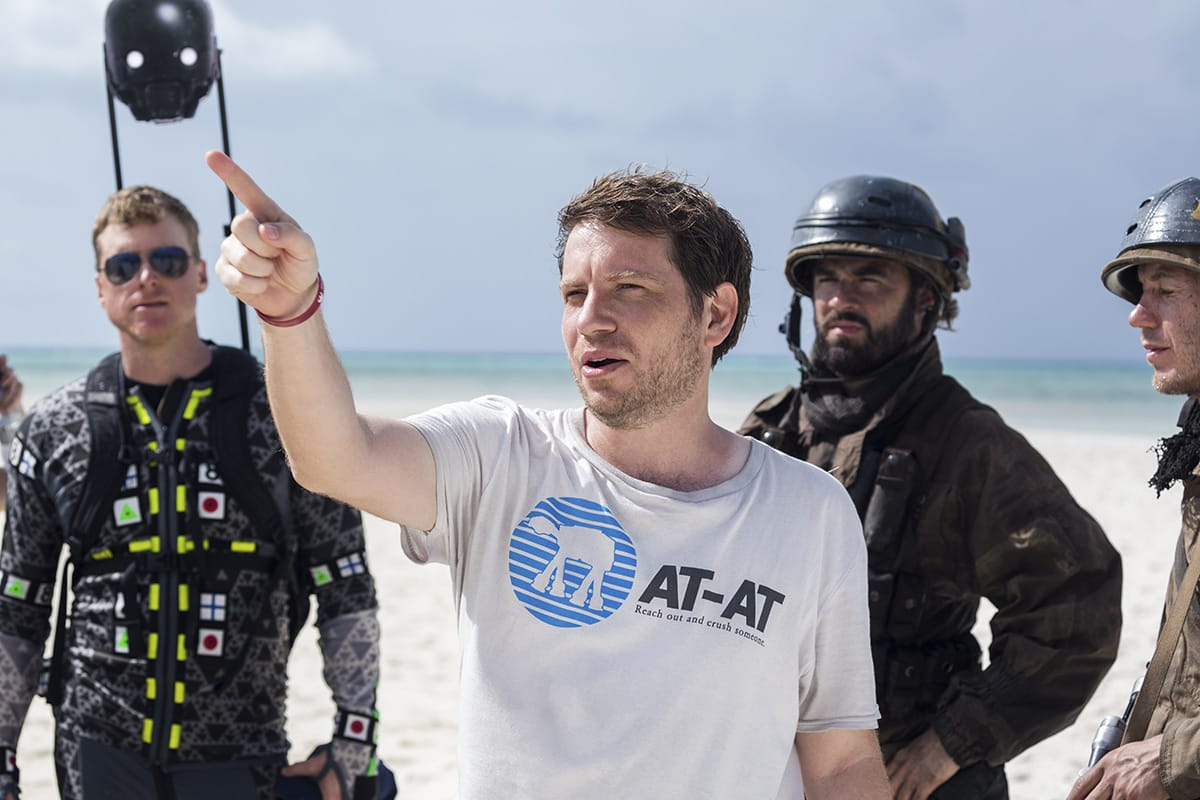 Alan Tudyk, far left, on the set with director Gareth Edwards, front.