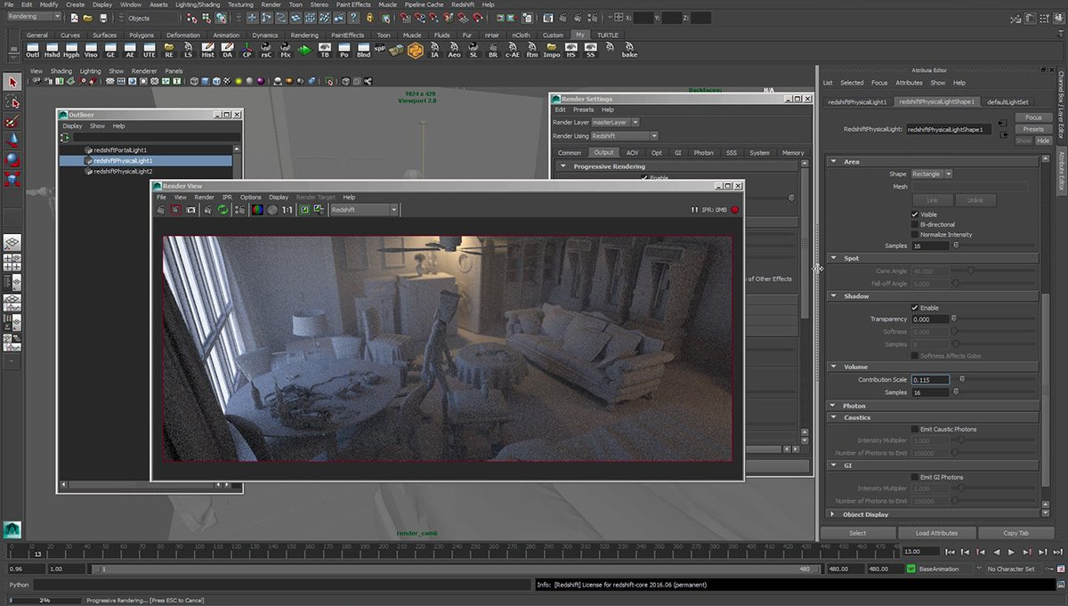 A screenshot of the Redshift renderer during production.