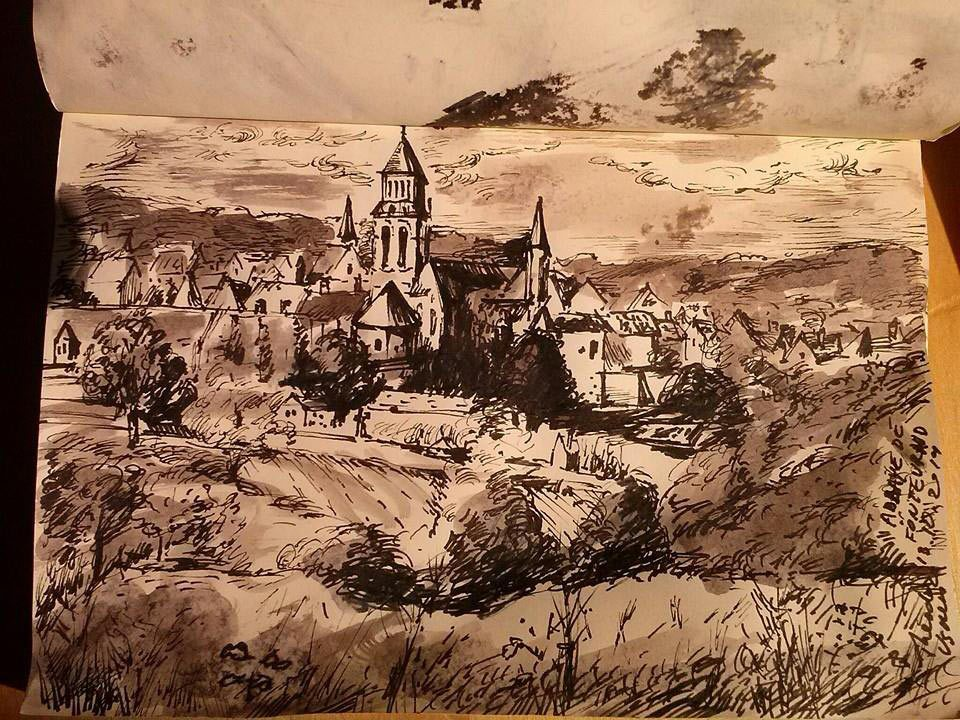 Sketch by Theo Ushev made at Fontevraud Abbey.
