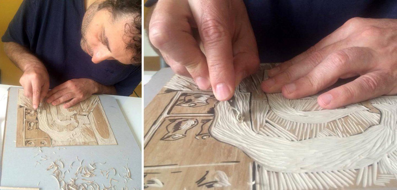 Ushev creating linocuts.