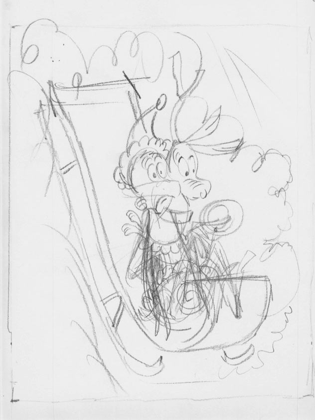 Story drawing by Irv Spector.
