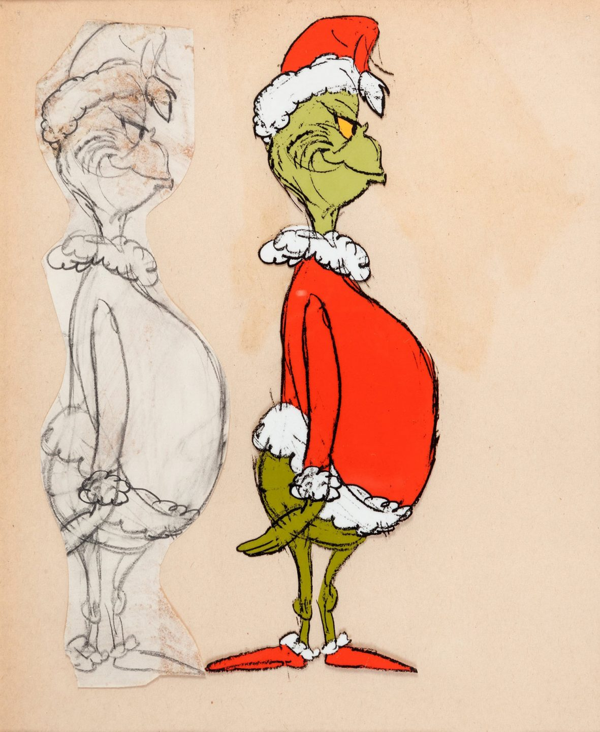 Early character design by Chuck Jones and color model cel test.