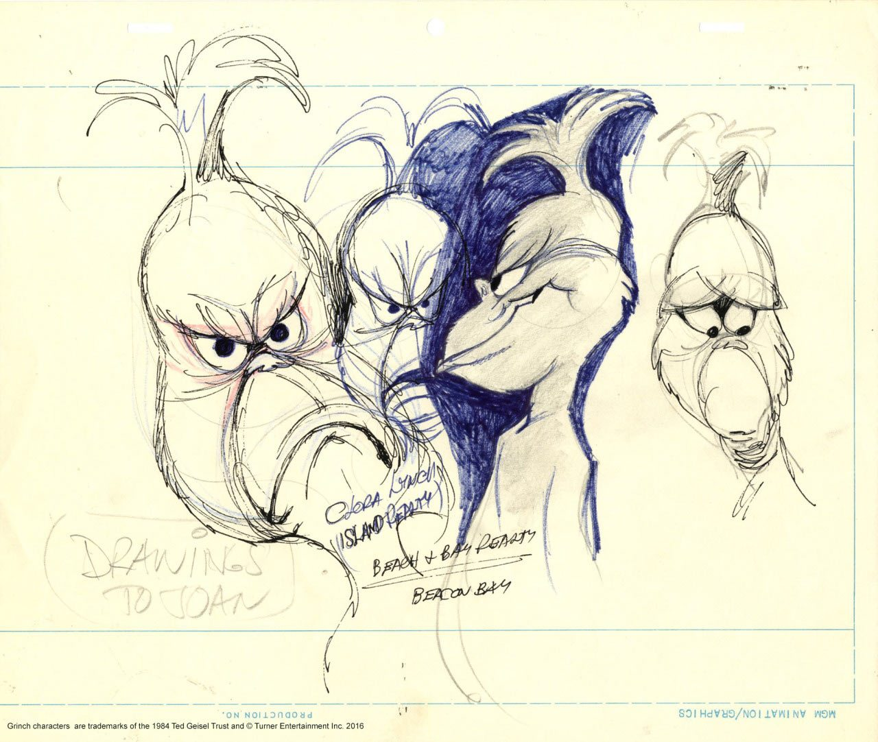 Grinch practice drawing by Chuck Jones.