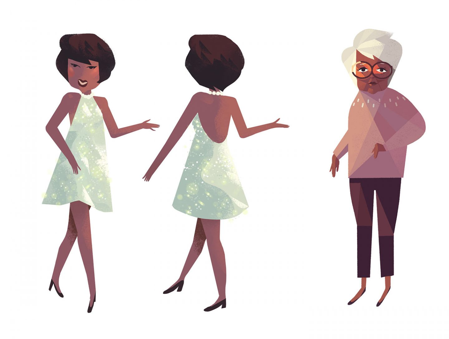 Motown-era June designs (l.) by Tiffany Ford. Older June design by Original Design by TIffany Ford, clean-up design by Jasmin Lai and Kevin Dart.