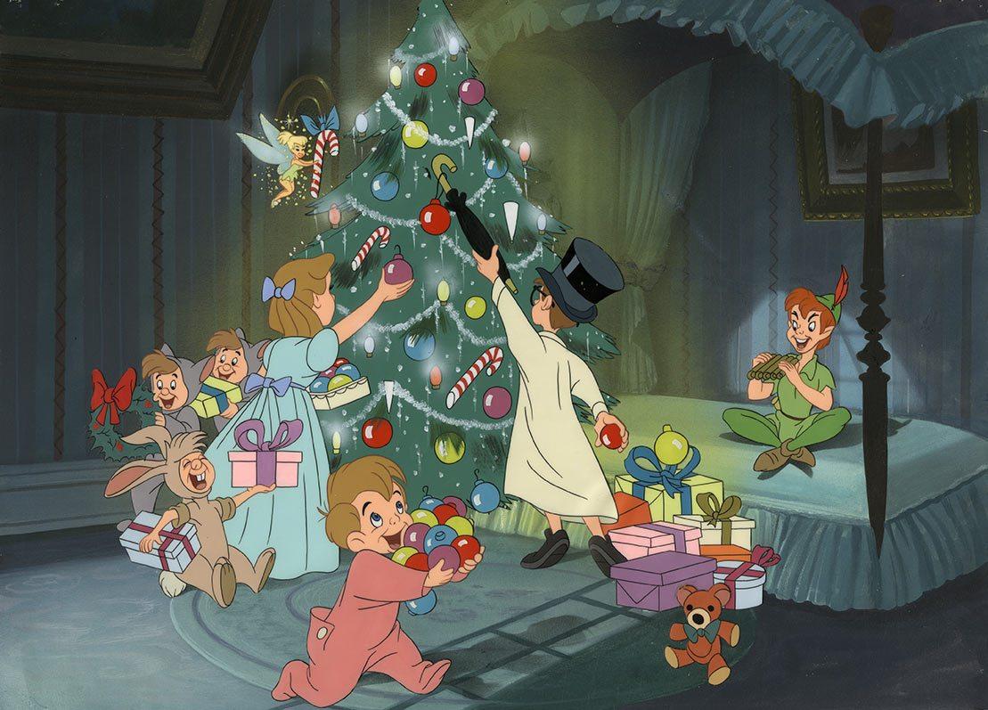 """Peter Pan"" Disney art props Christmas presentation art."