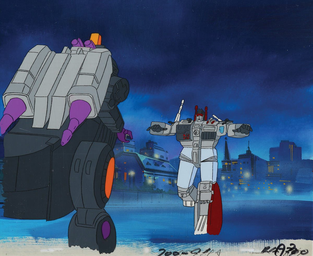 """Trypticon vs. Menasor production cel and background from """"The Transformers."""""""