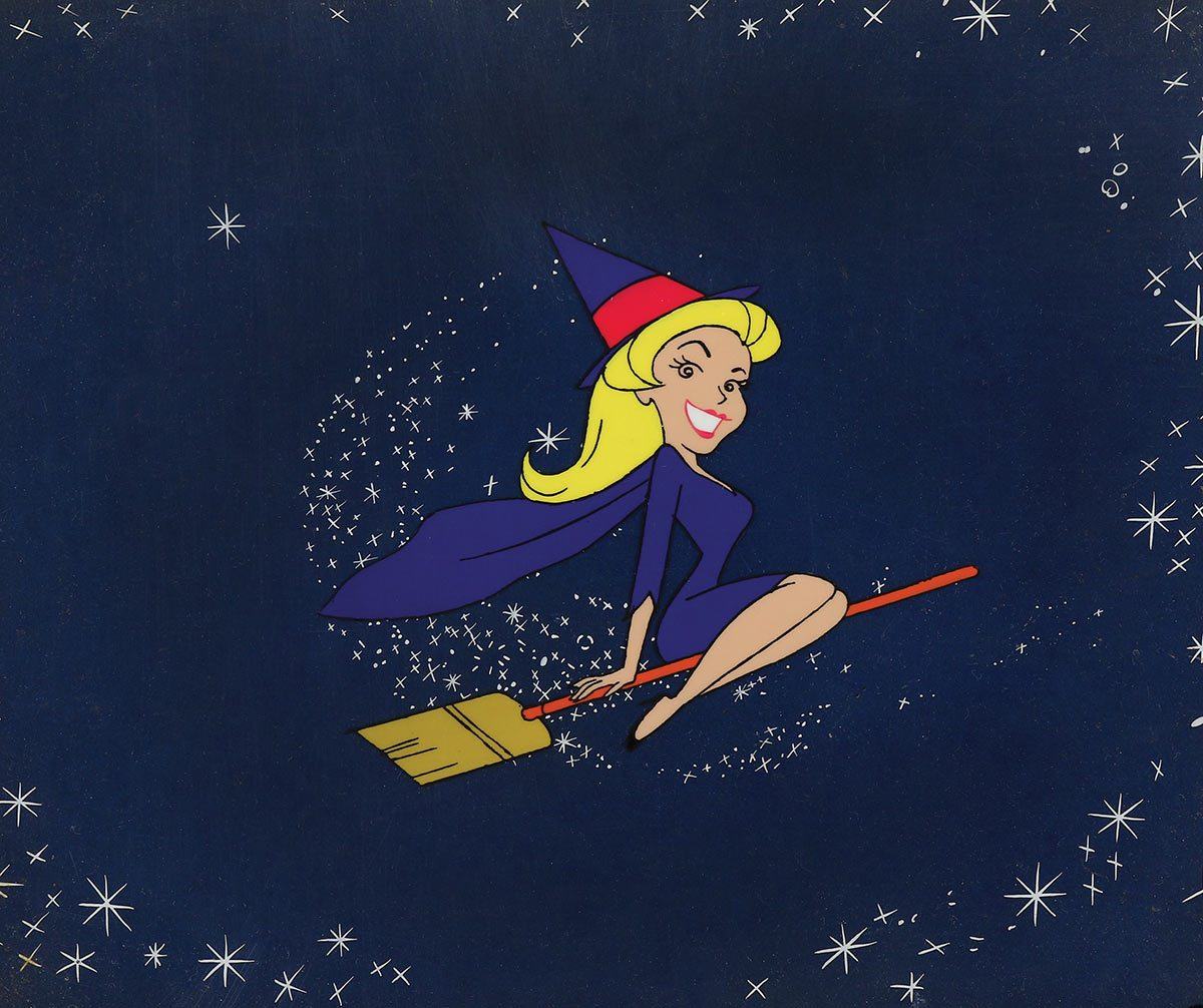 """Samantha production cel with effects cel from the opening title to """"Bewitched."""""""