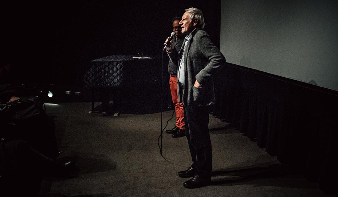French animation legend Jean-François Laguionie talks about his new feature Louise en hiver. Sommets artistic director Marco de Blois in back.