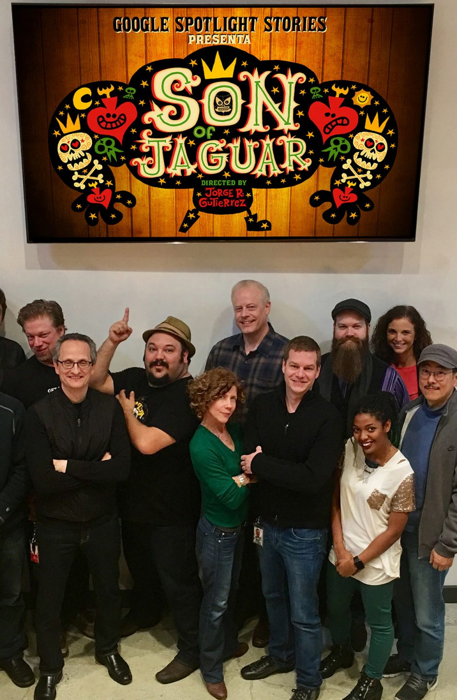 "The Google Spotlight Stories team. In front: creative director Jan Pinkava, Jorge Gutierrez (pointing upward), exec producer Karen Dufilho, and ""Son of Jaguar"" producer David Eisenmann."