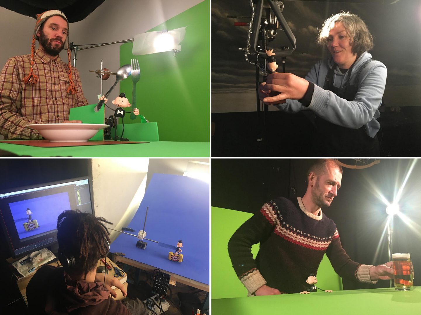 "'Tiniest Man"" animators (clockwise from upper left): Mariano Bergara, Souad Wedell, Gilles Coirier, Becho Lo Bianco."