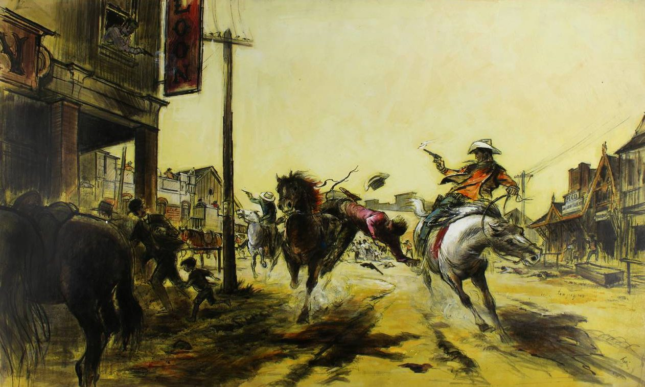 "A production design painting that Wong produced for the Warner Bros. film ""The Wild Bunch"" (1969)."